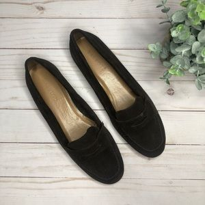 Talbots • Chocolate Brown suede slip on loafers